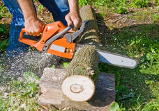 Man with chainsaw stock image