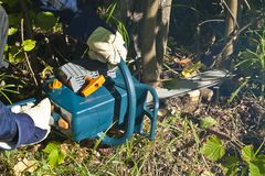 Man with chainsaw Stock Images