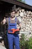 Man with chainsaw Royalty Free Stock Photo