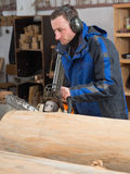 Man with chainsaw cuts a tree trunk Stock Images