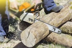A man with a chainsaw cutting wood. The concept of protection of nature. Firewood stock photo