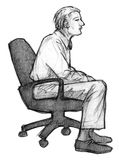 Man on chair. Pencil sketch man on chair Royalty Free Stock Photography