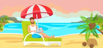 Man in Chaise Longue with Laptop. stock illustration