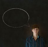 Man with chalk speech bubble talk talking Stock Images