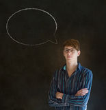 Man with chalk speech bubble talk talking Royalty Free Stock Photos