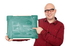 Man with chalkboard Stock Photography