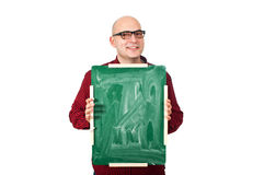 Man with chalkboard Royalty Free Stock Photography