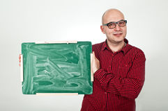 Man with chalkboard Royalty Free Stock Photo