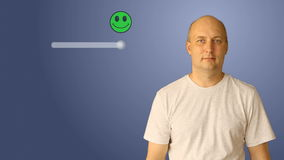 The man changes the rating from unsatisfactory to excellent. The smiley changes color from red to green. Virtual screen. A man moves down line. Template for stock video
