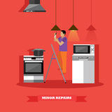 Man changing lamp bulb in kitchen vector illustration. Do it yourself home repair concept Stock Images