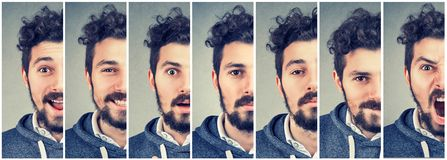Man changing mood expressing different emotions. Collage of a young man changing mood expressing different emotions stock photo