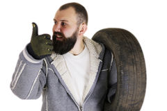 Man changing tire wheels winter Royalty Free Stock Photos