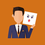 Man Character Avatar Vector in Flat Design. Man character avatar vector. Flat style. Male portrait with indignation, amazement, shame, frustration, irritation Royalty Free Stock Images