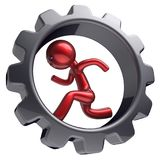 Man character businessman running inside gearwheel hard. Man character businessman running inside gearwheel rotate cogwheel stylized red human cartoon guy Royalty Free Stock Photography