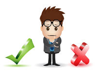 Man character with checklist and cross sign Stock Photos