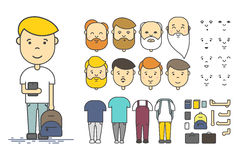 Man character creation set. Colorful linear vector icon with different types of faces, emotions, clothes, arms, object. Male person Royalty Free Stock Photos