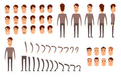 Man character creation set. Icons with different types of faces, emotions, clothes. Front, side, back view of male Stock Images