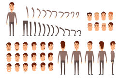 Man character creation set.. Icons with different types of faces, emotions, clothes. Front, side, back view of male person. Moving arms, legs. Chair. Board Royalty Free Stock Photos