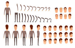 Man character creation set. Icons with different types of faces, emotions, clothes. Front, side, back view of male Royalty Free Stock Photography