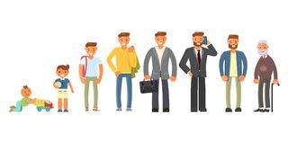 Man character in different ages. In cartoon style. The life cycle including baby, child, teenager, adult and elderly person. Generation of people and stages of Stock Illustration