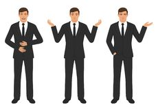 Man character expressions with hands gesture, cartoon businessman wit different emotion. Vector illustration of a man character expressions with hands gesture Stock Photography