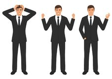 Man character expressions with hands gesture, cartoon businessman wit different emotion. Vector illustration of a man character expressions with hands gesture Stock Photo