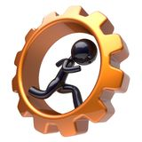 Man character inside gear wheel running cogwheel business. Man character inside gear wheel running businessman rotate cogwheel stylized black human cartoon guy Royalty Free Stock Photography