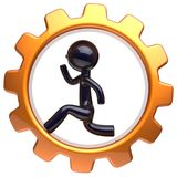 Man character inside gearwheel running businessman icon. Man character inside gearwheel running businessman rotate cogwheel stylized black human cartoon guy Stock Photography