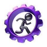 Man character inside purple gearwheel, running businessman. Rotate cogwheel, stylized black human cartoon guy hamster person, gear wheel employment hard job Royalty Free Stock Photo