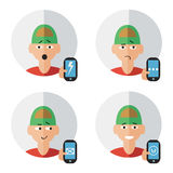 Man character with phone emotions Royalty Free Stock Photo
