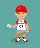 man character in a red baseball uniform with bat and ball in his hands. Royalty Free Stock Photography