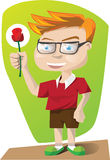 Man Character with rose Royalty Free Stock Photos