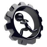 Man character running inside cogwheel gearwheel hamster. Man character running inside cogwheel gearwheel businessman hamster stylized black human cartoon guy Stock Photo