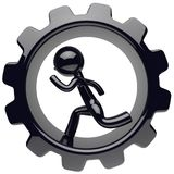 Man character running inside gearwheel cogwheel hard work. Man character running inside gearwheel cogwheel businessman hamster stylized black human cartoon guy Stock Photos