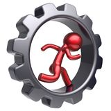 Man character running inside gearwheel human business hard. Man character running inside gearwheel human rotate cogwheel stylized red cartoon guy hamster person Stock Photography