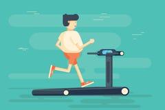 Man character runs on treadmill. Vector flat cartoon illustration. Cartoon fat man running on treadmill Royalty Free Stock Photos