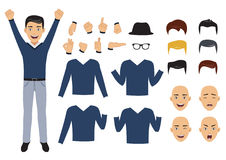Man character set with face and body elements, , vector illustration Royalty Free Stock Photography
