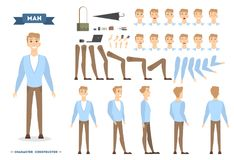 Man character set. Man character set with poses and emotions Royalty Free Illustration