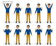 Man character set in various poses, isolated, vector illustration Stock Photography