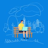 Man Character Sitting on Bench in Park with Laptop. Young Man Character Wearing Yellow T-Shirt Sitting on Bench in Park with Laptop on Blue Background with stock illustration