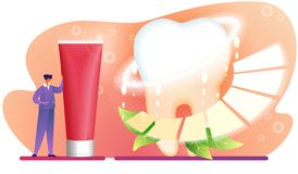 Man Character Stand near Huge Red Toothpaste Tube. vector illustration