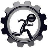 Man character stylized black human run inside gearwheel. Man character stylized black human running inside gearwheel businessman rotate cogwheel cartoon guy Stock Photo