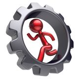Man character stylized red cartoon guy run inside gearwheel. Man character stylized red cartoon guy running inside gearwheel human rotate cogwheel like hamster Stock Image