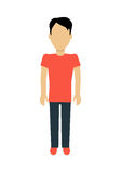 Man Character Template Illustration. Male character without face in t-shirt and pants in flat design. Man template personage figure illustration, mobile app Royalty Free Stock Images