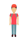 Man Character Template Vector Illustration. Male character without face with backpack vector in flat design. Man template personage illustration for travel Royalty Free Stock Image