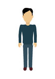 Man Character Template Vector Illustration. Male character without face in blue pullover and pants vector in flat design. Man template personage figure Stock Images