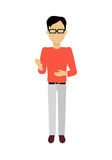 Man Character Template Vector Illustration. Male character without face in red sweater vector. Flat design. Man template personage illustration for concepts Royalty Free Stock Photo