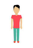 Man Character Template Vector Illustration. Male character without face in red t-shirt and green pants vector in flat design. Man template personage figure Royalty Free Stock Images