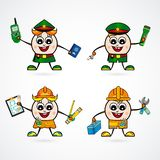 Man Character vector of cute different professions. Police. Policeman. Employee. Engineer. royalty free illustration