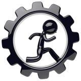 Man character work inside gearwheel black gear wheel icon Stock Photos